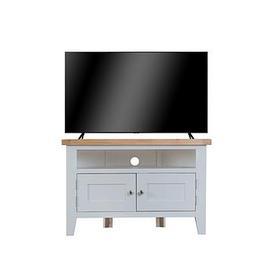 image-K-Interiors Harrow Ready Assembled Corner Tv Unit - Fits Up To 45 Inch Tv - Grey/Oak