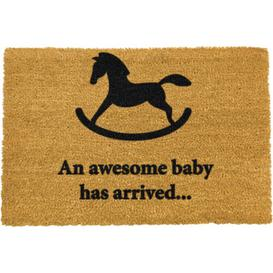 image-Elan Awesome Baby Has Arrived Rocking Horse Doormat Happy Larry