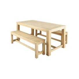 image-Wooden garden table + 2 benches W 180cm Bréhat