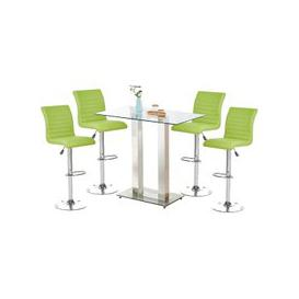 image-Jet Glass Bar Table With 4 Lime Leather Ripple Stools