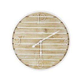 image-Slatted White Metal and Pine Clock D90