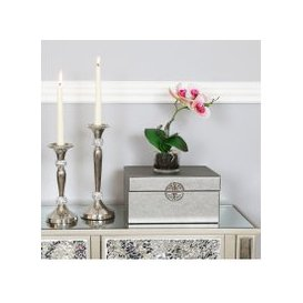 image-Set Of 2 Pewter Faux Leather Jewellery Boxes