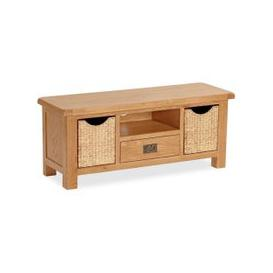 image-Global Home Salisbury Oak 1 Drawer 2 Baskets Large TV Unit