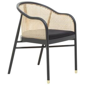 image-Olivia's Cali Cane Curved Rattan And Birchwood Occasional Chair Black
