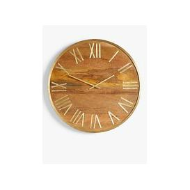 image-John Lewis & Partners Large Dark Wood Roman Numeral Analogue Wall Clock, 75cm, Natural