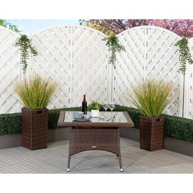 image-Square Rattan Garden Dining Table in Brown - Rattan Direct