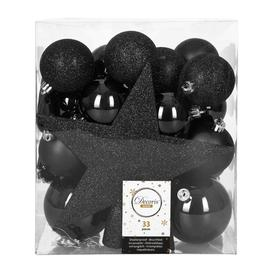 image-A by AMARA Christmas - Set of 33 Assorted Baubles and Tree Topper - Black