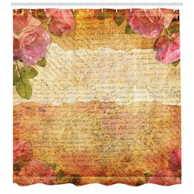 image-Text with Roses Shower Curtain East Urban Home