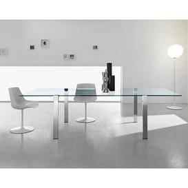 image-Dining Table Ivy Bronx Size: 240cm W x 100cm D, Colour (Table Top): Clear, Colour (Table Base): Chrome-plated metal