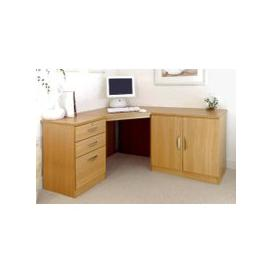image-Small Office Corner Desk Set With 3 Drawers & Cupboard (Classic Oak)