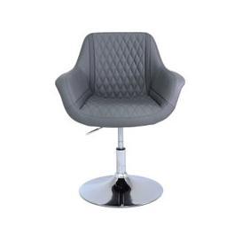 image-Stanley Diamond Stitch Grey Faux Leather Swivel Armchair