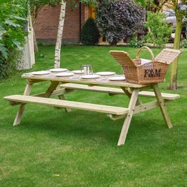 image-Oakham Rounded Picnic Bench Sol 72 Outdoor Finish: Light Green, Table Size: 210cm L x 140cm W