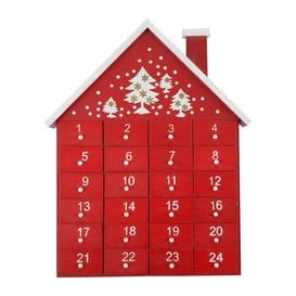 image-Gisela Graham - Wooden House Advent Calendar - Red