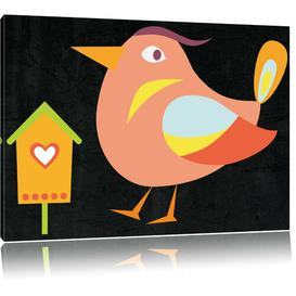 image-Cute Bird with Bird House Art Print on Canvas in Beige/Black/Yellow East Urban Home Size: 70cm H x 100cm W
