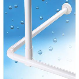 image-Metal Shower Curtain Rod Support Belfry Bathroom Finish: White