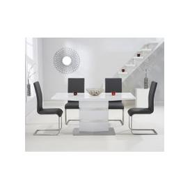 image-Serena 160cm White High Gloss Dining Table with Malaga Chairs