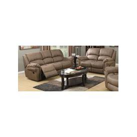 image-Farnham Taupe Leather 3+2 Recliner Sofa Suite