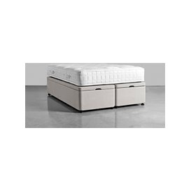 image-Double Storage Bed Base - French Blue Linen Cotton Blend