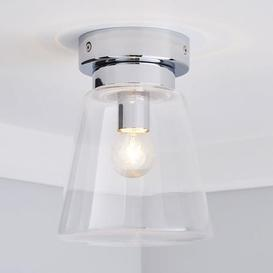 image-Delavin 1 Light Pendant Glass Flush Bathroom Ceiling Fitting Silver