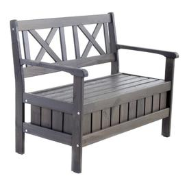 image-Daucourt Wooden Bench Sol 72 Outdoor Colour: Taupe Grey, Size: H88 x W127 x D64cm