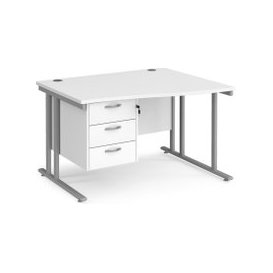 image-Value Line Deluxe C-Leg Right Hand Wave Desk 3 Drawers (Silver Legs), 120wx99/80dx73h (cm), White, Free Next Day Delivery