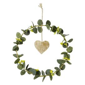 image-Artificial leaf wreath and metal wall art 30x30cm
