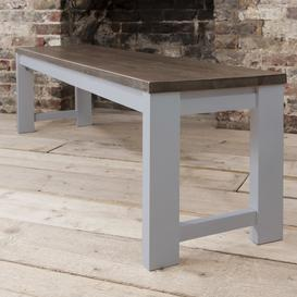 image-Hever Bench in Grey and Dark Pine