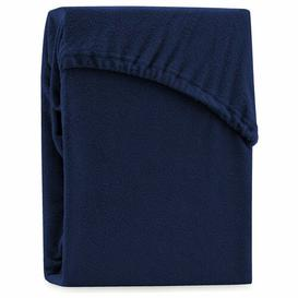 image-Hester 130 Thread Count Fitted Sheet Symple Stuff Size: Double (4'6), Colour: Dark Blue