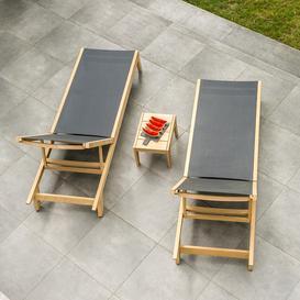 image-Alexander Rose Garden Furniture Roble Charcoal Sling Sunbeds & Side Table