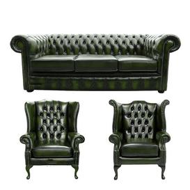 image-Chesterfield 3 Piece Leather Sofa Set Winchester Leather Ltd Upholstery Colour: Antique Green