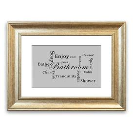 image-'Bathroom Tranquility' Framed Typography in Light Grey East Urban Home Size: 50 cm H x 70 cm W, Frame Options: Silver
