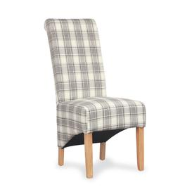 image-Cappuccino Herringbone Check Roll Back Dining Chair set of 2