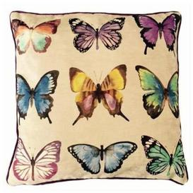 image-Novelty Butterfly Print Velvet Cushion, Polyester Filler