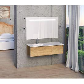 image-Kyree 1200mm Wall Mount Single Vanity Unit Belfry Bathroom Vanity Base Colour: Light Oak