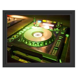 image-Green Lit DJ Decks Framed Art Print