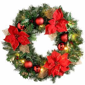 image-Pre-Lit Illuminated 60cm Lighted Christmas Wreath Three Posts