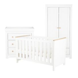 image-Aylesbury Cot Bed 3 Piece Nursery Furniture Set CuddleCo Colour: White/Ash