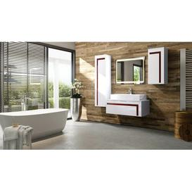 image-Aloha 3-Piece Bathroom Furniture Set Vladon Body and front colour: White/Bordeaux, With mirror: Yes, Orientation: With sink, without tap