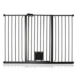 image-Maxen Safety Gate with Lockable Cat Flap Archie & Oscar Finish: Grey, Size: 104 cm H x 89cm W