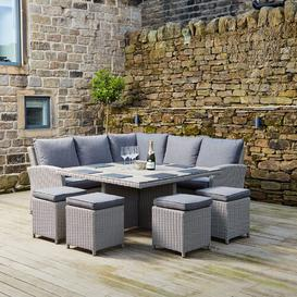 image-High 8 Seater Rattan Corner Sofa Set Sol 72 Outdoor Colour: Stone Grey