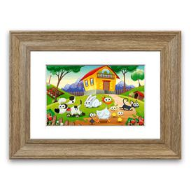 image-'Animal Farm Fun Childrens' Framed Graphic Art East Urban Home Size: 30 cm H x 40 cm W, Frame Options: Teak