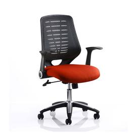 image-Relay Task Black Back Office Chair With Tabasco Red Seat