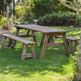 image-Sol 72 Outdoor Wooden Picnic Bench Sol 72 Outdoor Finish: Rustic Brown, Table Size: 180cm L x 142cm W