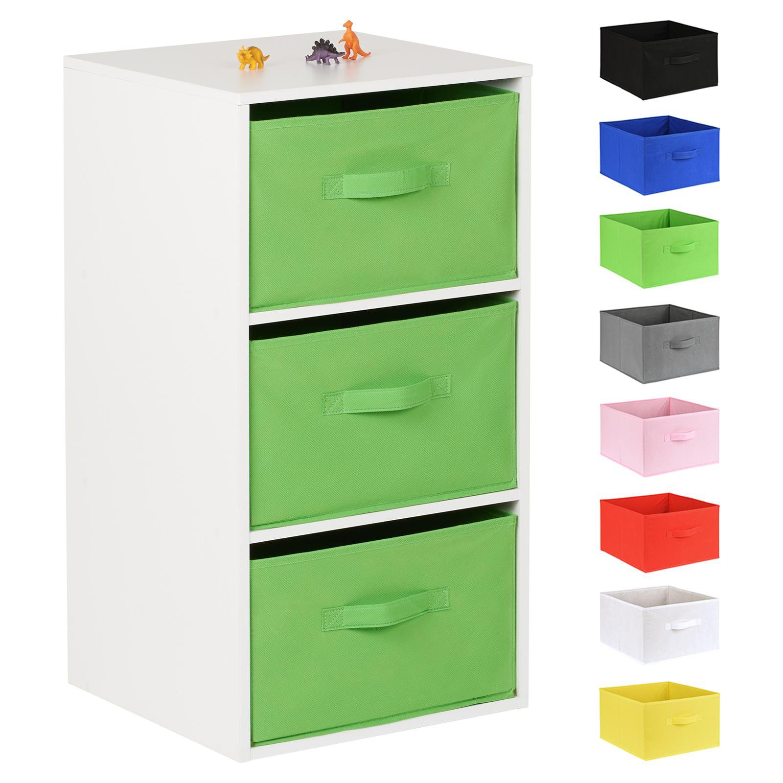image-Hartleys White 3 Cube Kids Storage Unit & 3 Handled Box Drawers - Green