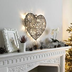 image-Battery Operated Indoor and Outdoor PVC Rattan Heart Shaped Christmas Decoration Figurine August Grove Colour: Grey