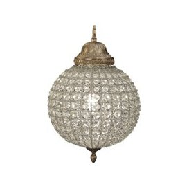 image-Libra Round Crystal Effect Brass Chandelier Small Leaf Decoration Band E14 40W 1
