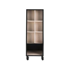 image-Industrial Shop Display Unit in Mango Wood and Black Metal Shop Business