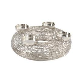 image-Libra Polished Silver Woven Wreath With Tealight Holders - Xmas-19