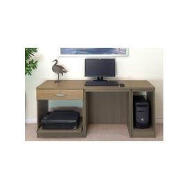 image-Small Office Desk Set With Single Drawer, Printer Shelf & CPU Unit (English Oak)