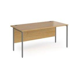 image-Value Line Classic+ Rectangular H-Leg Desk (Graphite Leg), 100wx80dx73h (cm), Oak, Free Next Day Delivery